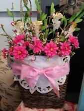 Grapevine Pocket Basket Spring Summer Pink Floral Wreath ~ Home Decor
