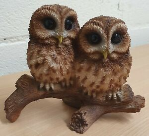 Vivid Arts Tawny Owls on Branch | Resin Home or Garden Decoration | BG-TWNY-D
