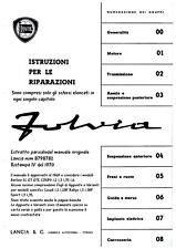 LANCIA FULVIA Manuale Officina Riparazione SCANSIONE x EMAIL 291pag+68disegni A4