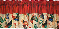 New Gilded Beauties ROOSTER red barn valance blue gold green custom LINED