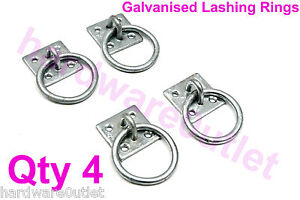 4 x Galvanised TIE RING Horse Stable Haynet Lashing Ring on Plate Equestrian