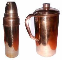New Indian Handmade Pure Copper Water Bottle + Pitcher Jug Good For Health Set-2