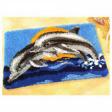 LEAPING DOLPHINS LATCH HOOK RUG KIT from UK Seller, BRAND NEW