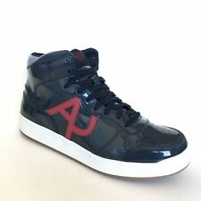 Armani Men's Logo High Top Patent Leather Sneakers Blue Size 9.5 - 10 Mismatch