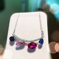 Thick 18K White Gold GF Made With SWAROVSKI Crystal Curve Stick Cluster Necklace