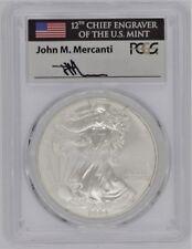 2004 $1 1oz Silver Eagle MS70 PCGS John Mercanti Flag