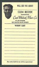 Ca 1958 PC LOS ANGELES CA COAST WHOLESALE MUSIC CO SALESMANS CALLING CARD ETC