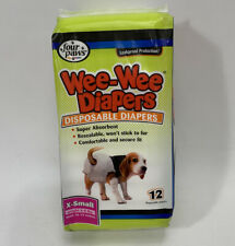 Four Paws Wee-Wee Dog Diapers with Tail-Hole, X-Small, Disposable, 12 Count