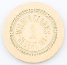 Wilbur Clark's Desert Inn Casino Roulette Chip Las Vegas Table 1 H Mold Beige