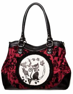 Burgundy Gothic Cat Bag Rockabilly Punk Rock Lunar Sisters Handbag by Banned