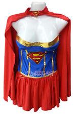 Adult Lady Women Supergirl Superhero Uniform Halloween Costume Outfit Dress Cape