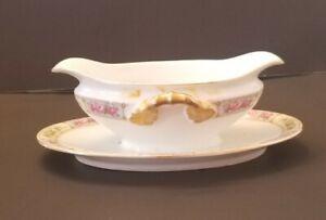 """Vintage Schwarzburg Pink Floral 9"""" Gravy Boat Gold Trim Handles Germany"""