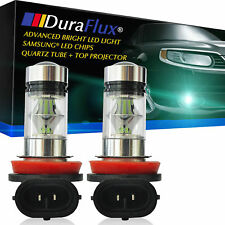 DuraFlux 8000K Ice Blue LED Fog Driving DRL Light Bulbs Projector 100W Samsung