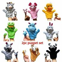 2pc SET new Animal finger Hand Glove Puppet Soft Plush Puppets Kid Childrens Toy