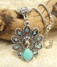 G2 Crystal Turquoise NECKLACE Peacock Pendant Antique Silver Plated