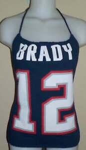 Ladies  Brady New England Patriots Reconstructed NFL Football Shirt Halter Top
