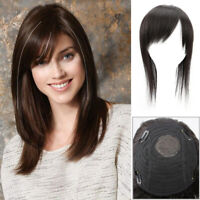 100% Real Human Hair Topper Toupee Clip Hairpiece Side Bangs Bob Straight Topper