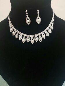 Women Fashion  Pearl & Diamante Necklace Set, Party and Bridal Wear, Uk Seller,