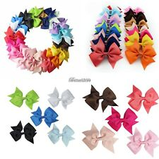 20X/Lot Bow Hair Clip Ribbon Alligator Clips for Girls Kids Sides Accessories B9