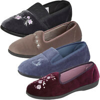 Ladies Slip on Slipper Gusset House Classic Velvet Floral Embroidery Comfy Shoes