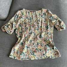 COMPTOIR DES COTONNIERS Floral Ruffled Sleeves Top / Blouse 100% Silk (Size 44)