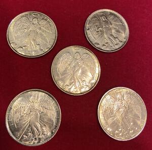 Religious Guardian Angel Token Coin Medal Lot Of 5 Gift Prayer