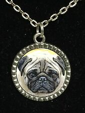 "Dog Pug Charm Tibetan Silver with 18"" Necklace P1 BIN"