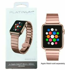 Platinum Stainless Steel Link Watch Band for Apple Watch 38mm 40mm Rose Gold