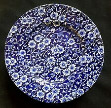 4 Beautiful Burleigh 7 inch Blue & White Floral Calico Staffordshire Cake Plates