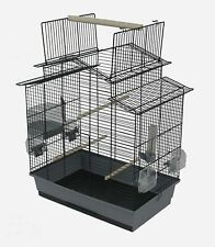 Bird Cage Budgerigar Canary With Outdoor Seating & Zubeboer Black Grey
