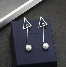Fashion Korean Women Triangle Pearl Long Tassel Party Drop Earrings Jewelry Gift