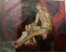 Russian Ukrainian Oil Painting male Portrait nude man boy Impressionism