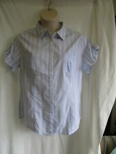 RIVERS, Blue & White Stripe Blouse, Collar, Pockets, Short Sl, Size 18, Exc Cond