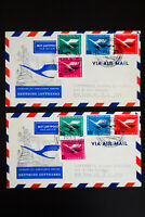Germany #C64-7 Stamps on 2 Flight Covers