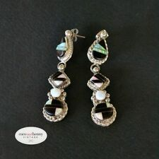 Opal Sterling Silver Earrings Vintage & Antique Jewellery