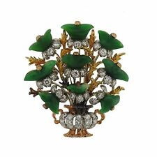 Buccellati 18k Gold Carved Jade Diamond Bouquet Brooch Pin