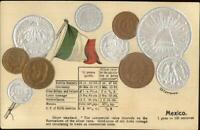 Mexico Currency Embossed Coins & Conversion Table c1910 Printed Postcard
