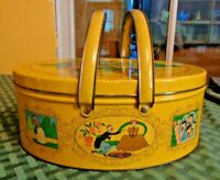 VINTAGE metal tin lid handles Yellow sewing basket oval buttons coins Picnic