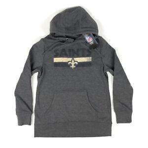 New Orleans Saints NFL Pro Line Fanatics Womens Medium Gray Hoodie Sweatshirt