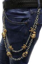 Men Silver Metal Wallet Chain Keychain Jeans Biker Beige Skeleton Skulls Charms