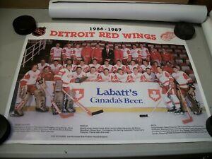 Vintage Detroit Red Wings 1986-1987 Labatt's Canada's Beer Team Photo / Poster
