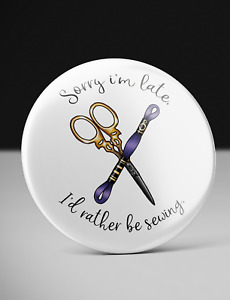 Cross Stitching Badge - I'd Rather Be Sewing
