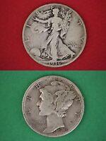 MAKE OFFER $10.00 Face 90% Silver Mercury Dimes Walking Liberty Half Dollars