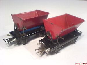 Marklin 00 tin art.no. 362, two (2) red tipping cars, old tin metal version!