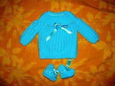 MAMAN BEBE naissance brassiere bébé tricotée main turquoise + chaussons]]
