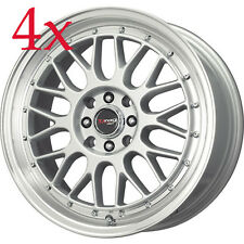 Drag Wheels DR-44 17x7.5 5x100 5x114.3 Silver Rims for Lancer Celica Rsx Civic