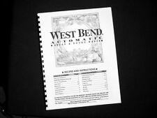 West Bend Bread Maker Machine Instruction Manual Recipes 41048 41063 41073 L4995