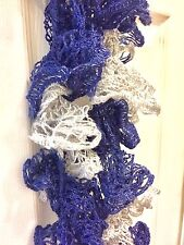 The Ravenclaw - Handknit Blue and Gray Ruffle Fashion Scarf