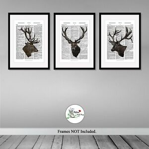 Stag Print Set of 3 Vintage Dictionary Deer Prints Picture Print ONLY A4 or A3