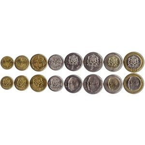 8 COINS FROM MOROCCO. 2002. UNC. 5 SANTIMAT - 10 DIRHAMS. NORTH AFRICAN CURRENCY